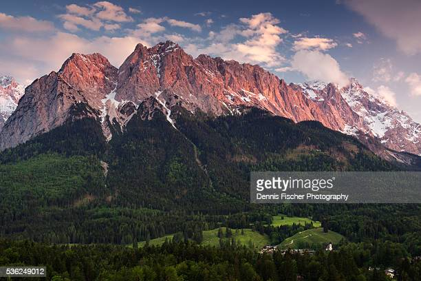 Waxenstein and Zugspitze mountains during sunset