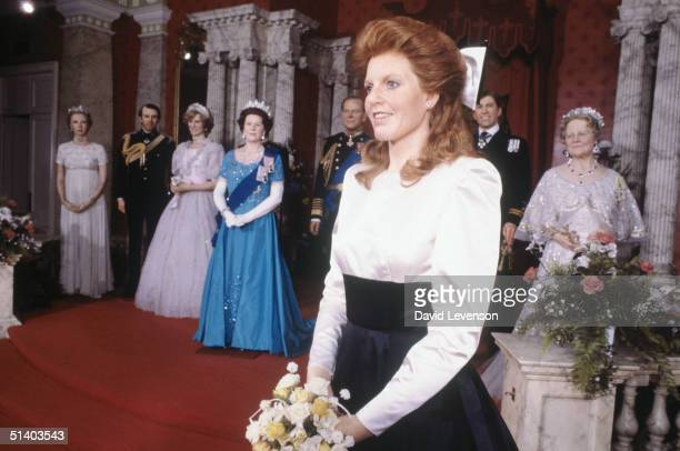 Waxwork dummy of Sarah, Duchess of York is unveiled at Madame Tussauds in London on July 17, 1986 a week before the wedding of Sarah to Prince Andrew.