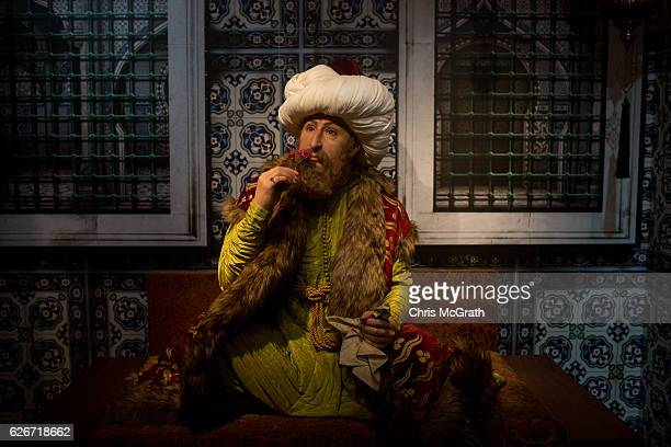 A waxwork figure of Ottoman Empire Sultan Fatih Sultan Mehmet is seen on display at Turkey's first Madame Tussauds Wax Museum on November 30 2016 in...