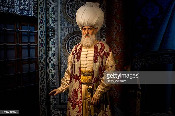 A waxwork figure of Ottoman Empire Sultan Kanuni Sultan Suleyman is seen on display at Turkey's first Madame Tussauds Wax Museum on November 30 2016...