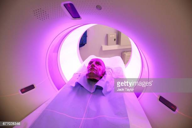 A waxwork head of Admiral Horatio Nelson sits on a bed before being examined with a CT scanner in the radiology department at St Thomas' Hospital on...