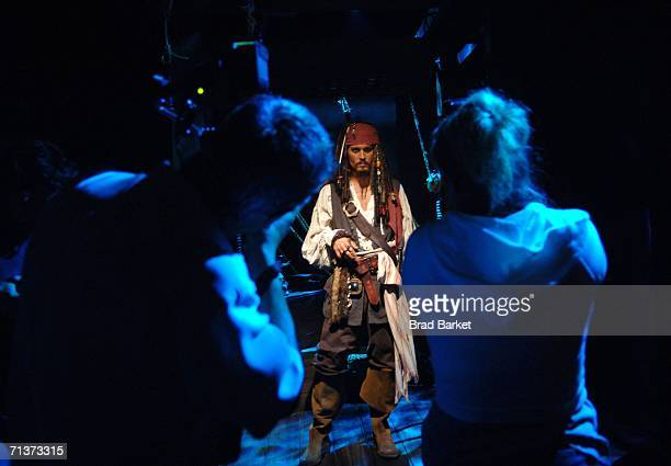 A waxwork model of Johnny Depp in character as Captain Jack Sparrow from the film Pirates of The Caribbean Dead Man's Chest is seen at Madame...