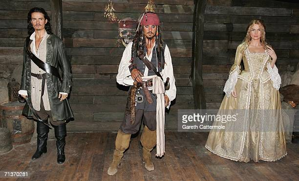 Waxwork models of Orlando Bloom as Will Turner Johnny Depp as Captain Jack Sparrow and Keira Knightly as Elizabeth Swan from Pirates of The Caribbean...