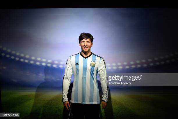 Waxwork of Argentine footballer Lionel Messi on display at Dreamland Wax Museum in Rio de Janeiro Brazil on March 11 2017