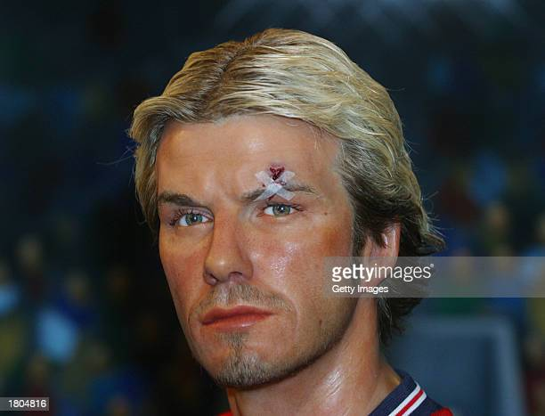 Waxwork of British footballer David Beckham with a gash above his left eye is shown at the Madame Tussaud's Museum in Hong Kong February 20 2003 The...