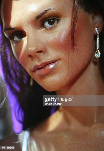 A waxwork of Victoria Beckham is seen at Madame Tussauds on August 18 2004 in London New models of Jennifer Aniston and Brad Pitt with squeezable...