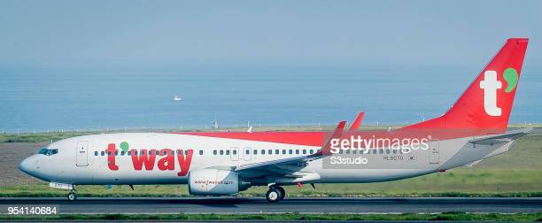 Way Air Boeing 7378AS in runway at Jeju International Airport on 18 April 2018 in Jeju South Korea Korea's budget carriers are now expanding their...