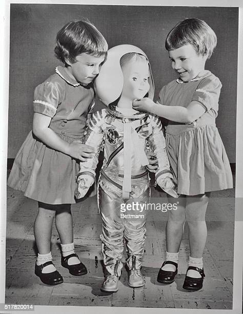 A way out doll which delights Maureen Soden and twin sister Leigh is this threefoothigh astronaut clad in an authentic space suit On display at an...