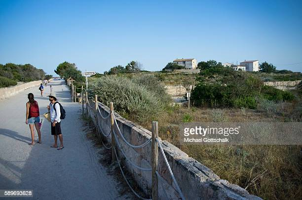 Way to Es Trenc beach at Ses Covetes near Colonia Saint Jordi at Mallorca Island on June 30 2016 in Ses Covetes Spain