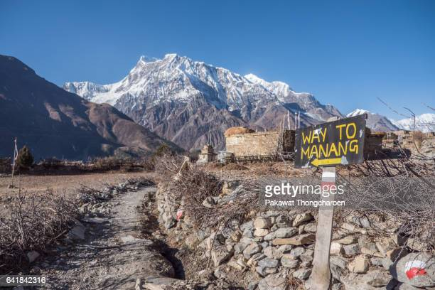 'Way To Manang' Sign and Annapurna III, Annapurna Conservation Area, Nepal