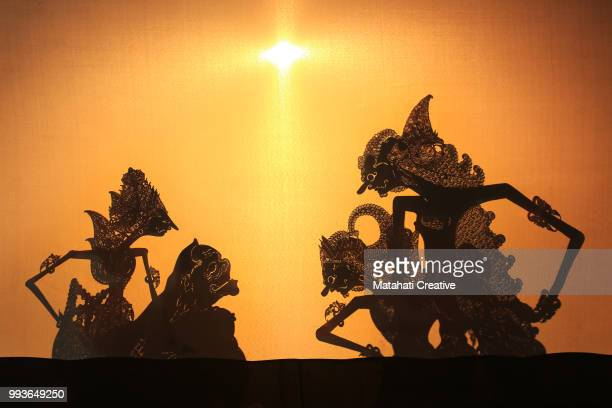 wayang kulit (shadow puppet) - shadow puppet stock photos and pictures