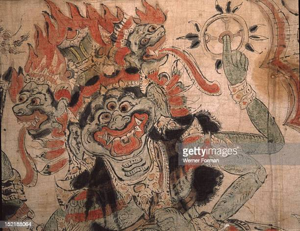 A wayang scroll unwound by the dalang as he narrates the story usually a version of Hindu myths or epics Detail Indonesia Balinese late 19th 20th c...