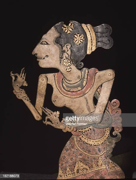 Wayang shadow puppet of the court attendant Codong who is always recognisable by her coiffure Indonesia Balinese c 1900 Klungkung Bali