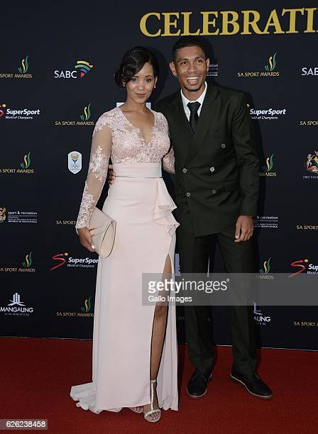 Wayde van Niekerk and his girlfriend Chesney Campbell during the SA Sports Awards on November 27 2016 in Bloemfontein South Africa The 2016 SA Sport...