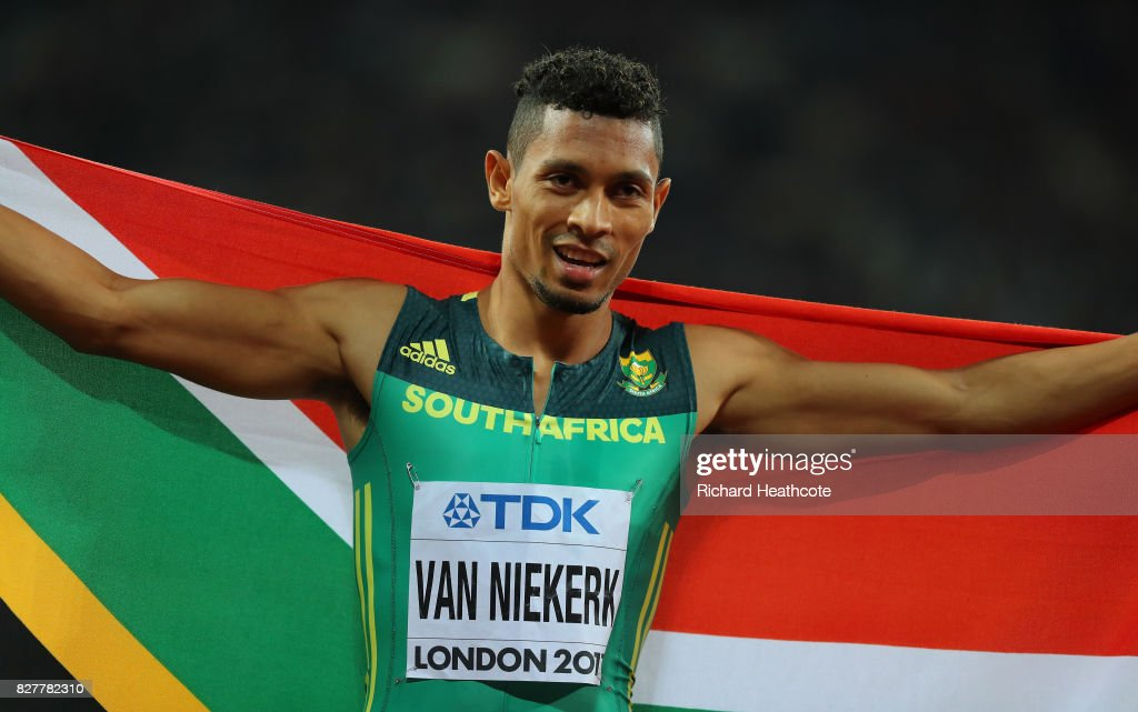 Wayde van Niekerk of South Africa celebrates after winning the Men's 400 metres final during day five of the 16th IAAF World Athletics Championships London 2017 at The London Stadium on August 8, 2017 in London, United Kingdom.