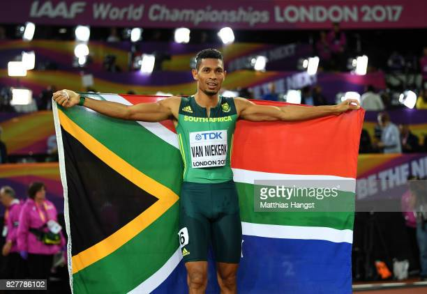 Wayde van Niekerk of South Africa celebrates after winning the Men's 400 metres final during day five of the 16th IAAF World Athletics Championships...