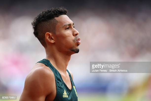 Wayde van Niekerk of South Africa competes in the Men's 400 metres during day two of the 16th IAAF World Athletics Championships London 2017 at The...
