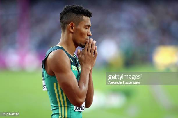 Wayde van Niekerk of South Africa reacts after the Men's 400 metres semi finals during day three of the 16th IAAF World Athletics Championships...