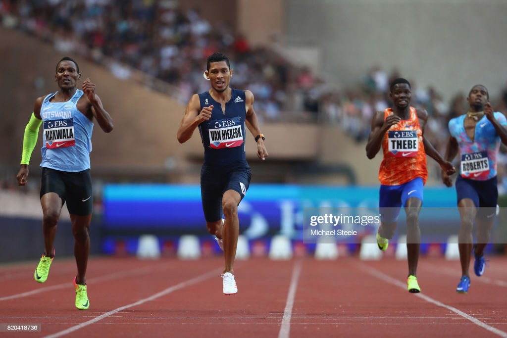 Wayde van Niekerk (2L) wins the 400m from Isaac Makwala (L) of Botswana during the IAAF Diamond League Meeting Herculis on July 21, 2017 in Monaco, Monaco.
