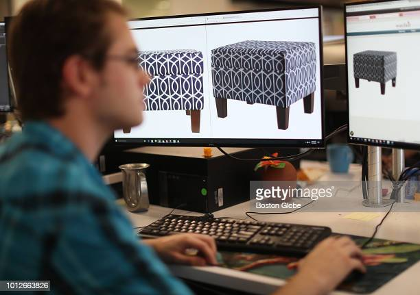 Wayfair employee Jay deVeer 3D artist works at his desk at the Boston headquarters of Wayfair on July 31 2018 Wayfair is among the city's...