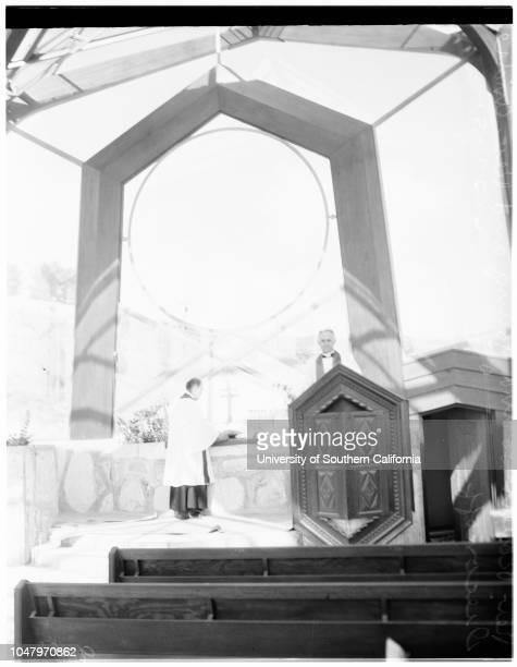 Wayfarer's Chapel Aapril 27 1951 Reverend Robert Loring YoungReverend Andre DiaconoffMrs Elizabeth S SchellenbergLoyd WrightMore descriptive...