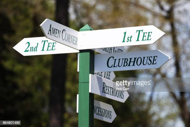 A wayfinding sign is seen during a practice round prior to the start of the 2017 Masters Tournament at Augusta National Golf Club on April 4 2017 in...