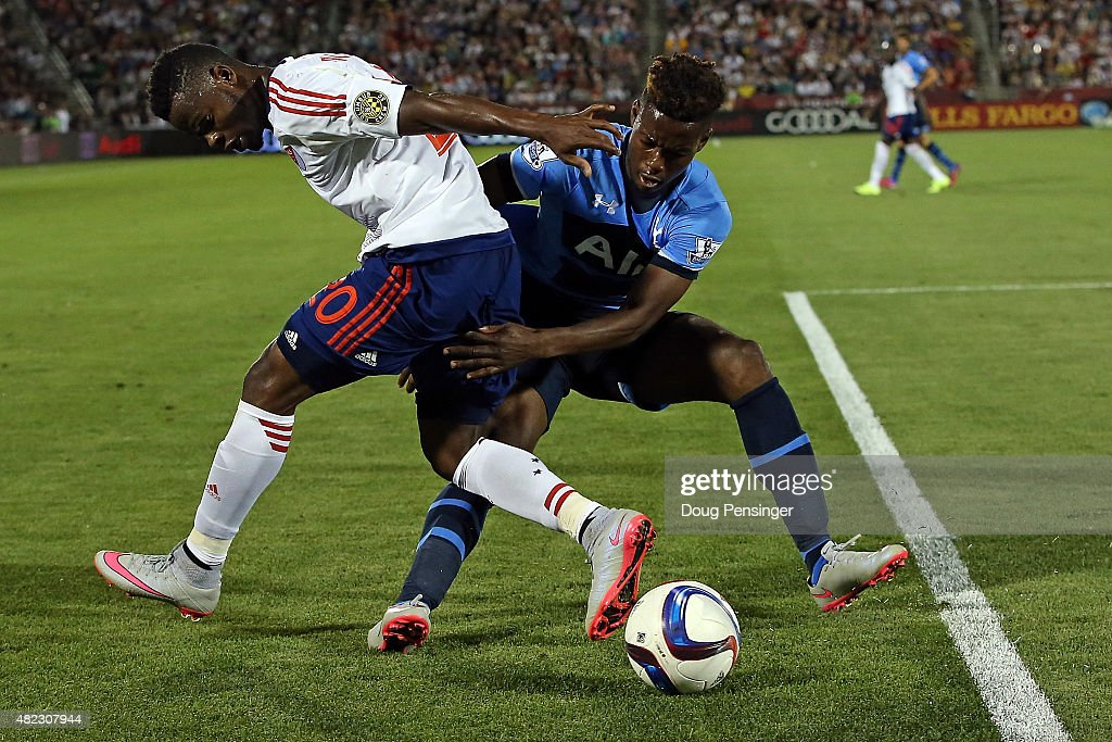 Waylon Francis #20 of MLS All-Stars and Josh Onomah #47 of Tottenham Hotspur battle for control of the ball during the 2015 AT&T Major League Soccer All-Star game at Dick's Sporting Goods Park on July 29, 2015 in Commerce City, Colorado. The MLS All-Stars defeated Tottenham Hotspur 2-1.