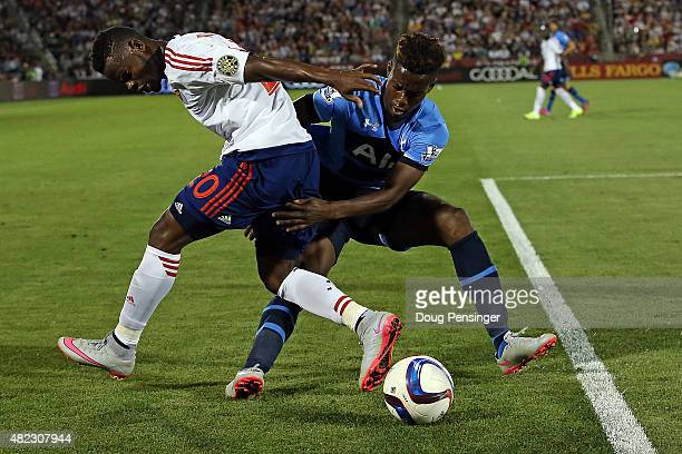Waylon Francis of MLS All-Stars and Josh Onomah of Tottenham Hotspur battle for control of the ball during the 2015 AT&T Major League Soccer All-Star...