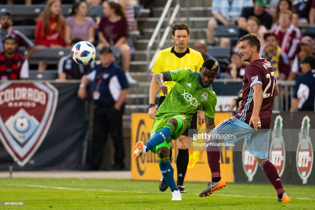 Waylon Francis #90 of Seattle Sounders attempts a pass past Deklan Wynne #27 of Colorado Rapids at Dick's Sporting Goods Park on July 4, 2018 in Commerce City, Colorado.