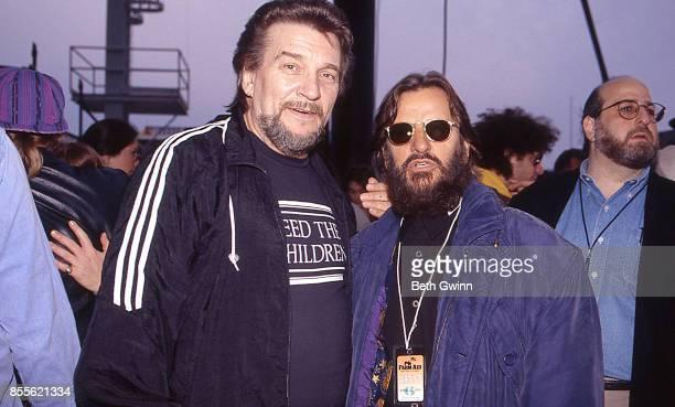 Waylon Jennings and Ringo Starr backstage during FarmAid April 24 1993 Ames Iowa