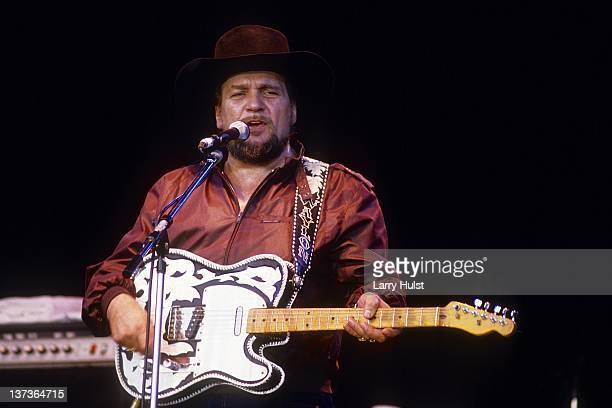Waylon Jennings performs with 'Willie Nelson and Friends' at Cal Expo in Sacramento California on July 23 1986