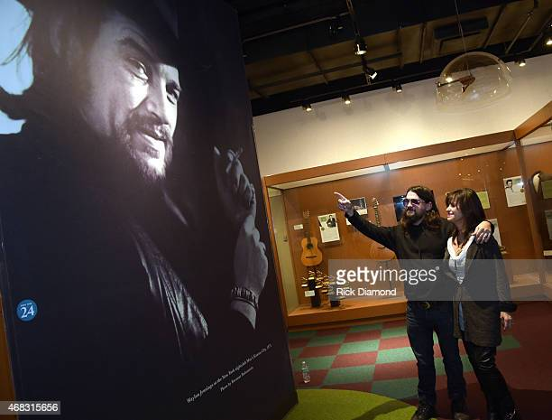 Waylon Jennings Son Wife Singers/Songwriters Shooter Jenning and Jesse Colter visit the Country Music Hall of Fame and Museum before performing at...