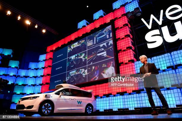 Waymo CEO John Krafcik delivers a speech about selfdriving cars at the 2017 Web Summit in Lisbon on November 7 2017 Europe's largest tech event Web...