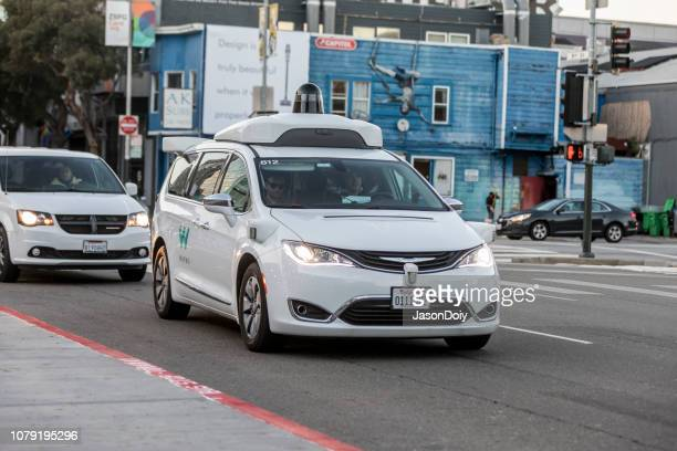 waymo on the streets of san francisco - autonomous technology stock photos and pictures
