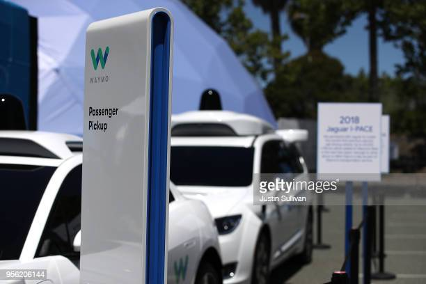 Waymo selfdriving vehicles are displayed at the Google I/O 2018 Conference at Shoreline Amphitheater on May 8 2018 in Mountain View California...