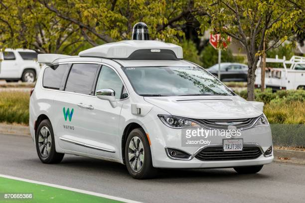waymo-pacifica-chrysler-mountain-view - driverless car stock pictures, royalty-free photos & images