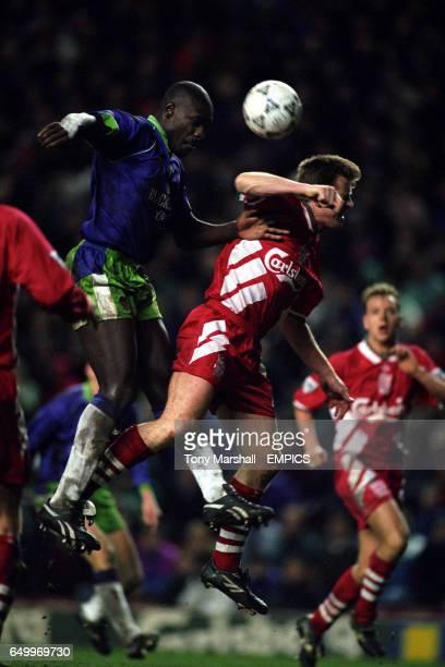 Wayne Allison Bristol City and Steve Nicol Liverpool battle for the ball