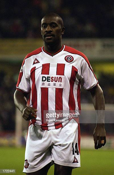 Wayne Allison of Sheffield United in action during the Worthington Cup semifinal first leg match between Sheffield United and Liverpool held on...