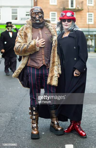 Wayne and Kath Lyons from Halifax pose for a photograph during Whitby goth Weekend on October 27 2018 in Whitby England The Whitby goth weekend began...