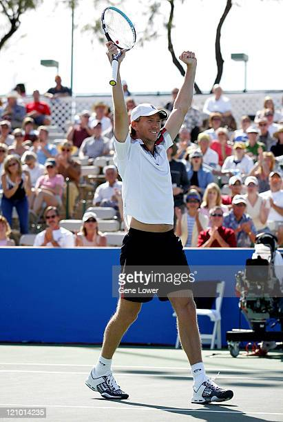 Wayne Arthurs celebrates after defeating Mario Ancic in the Tennis Channel Open championship match in Scottsdale Arizona on February 27 2005