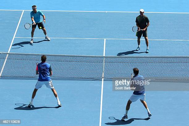 Wayne Arthurs Pat Cash Goran Ivanisevic and Justin Gimelstob in action in their legends doubles match during day seven of the 2015 Australian Open at...