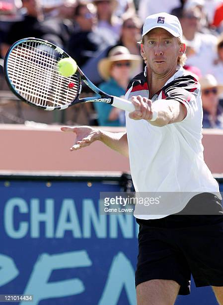 Wayne Arthurs reaches for the return against Mario Ancic in the championship match at the Tennis Channel Open in Scottsdale Arizona on February 27...
