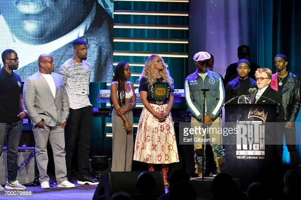 Wayne Barrow T'yanna Wallace Faith Evans Justin Combs CJ Wallace and Christian Combs accept the Founders Award on behalf of Notorious BIG from ASCAP...