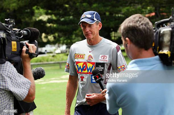 Wayne Bennett addresses the media after announcing his resignation as coach of the Brisbane Broncos at the Broncos Leagues Club on February 5 2008 in...