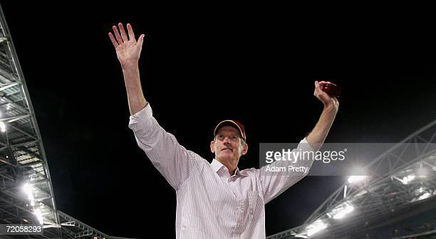 Wayne Bennett coach of the Broncos celebrates after the Broncos won the NRL Grand Final between the Brisbane Broncos and the Melbourne Storm at...