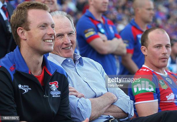 Wayne Bennett, coach of the Knights smiles during the round 26 NRL match between the Newcastle Knights and the Parramatta Eels at Hunter Stadium on...