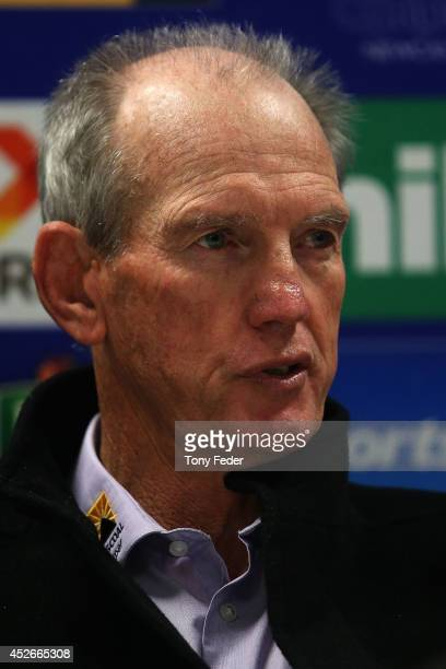 Wayne Bennett coach of the Newcastle Knights talks at the after match press conference during the round 20 NRL match between the Newcastle Knights...