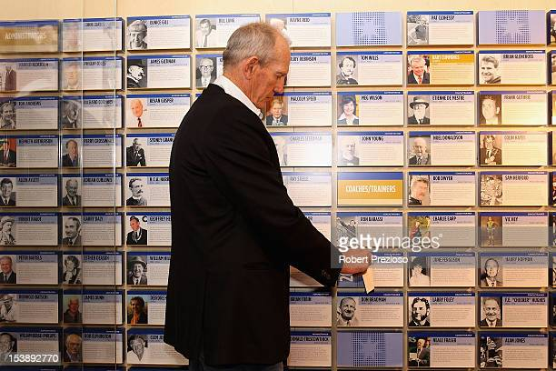 Wayne Bennett former Rugby League Coach unveils his plaque during the Sport Australia Hall of Fame Media Opportunity at Melbourne Cricket Ground on...
