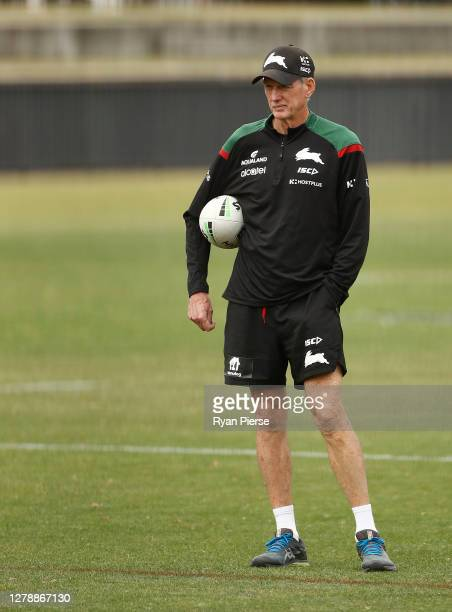 Wayne Bennett, head coach of the Rabbitohs, looks on during a South Sydney Rabbitohs NRL training session at Redfern Oval on October 07, 2020 in...