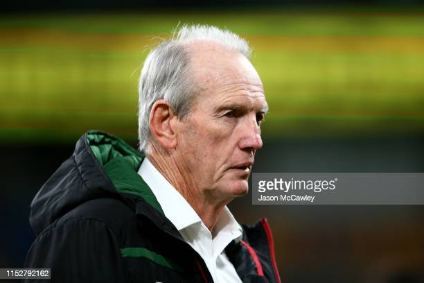 Wayne Bennett head coach of the Rabbitohs looks on prior to the round 12 NRL match between the Parramatta Eels and the South Sydney Rabbitohs at...